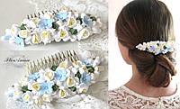 """""""Голубые гортензии с фрезиями"""" свадебный гребень для волос с цветами, фото 1"""