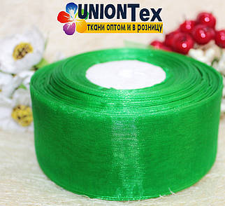 Лента органза зеленая 5 см.