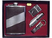 Мужской набор фляга + зажигалка + брелок + складной нож NF6224, подарочный набор для мужчины, набор фляга