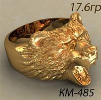 Символический Золотой Мужской Перстень 585 пробы в виде Головы  Медведя