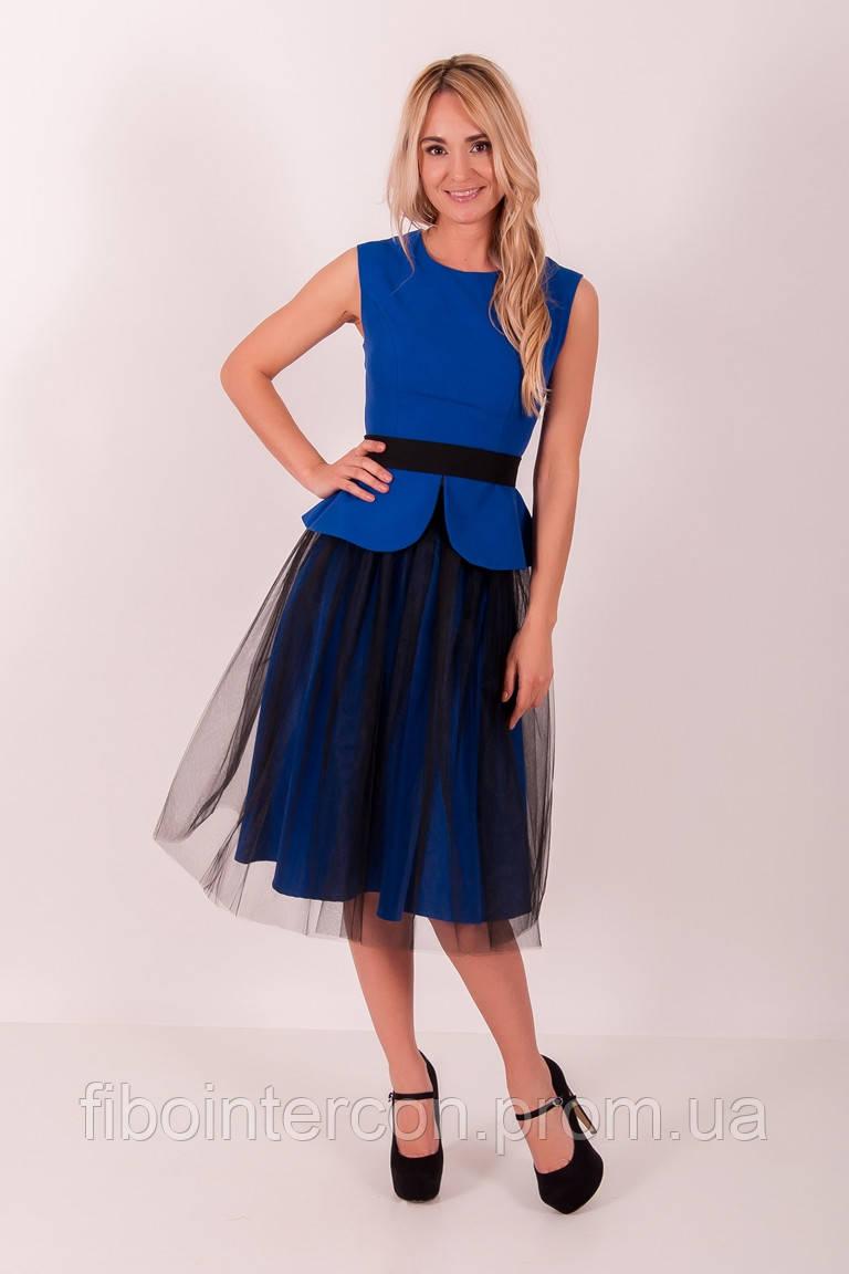 Синее платье с шифоновой юбкой