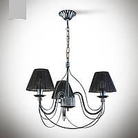 Люстра 3 ламповая для спальни, зала, небольшой комнаты с абажурами