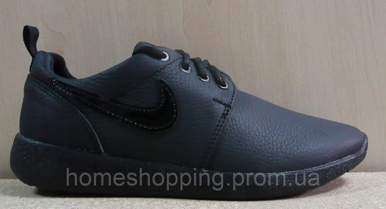 Женские Кроссовки Nike Roshe Run кожа черные, фото 1