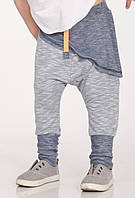 Летние легенькие штаны серо-синие, с накладной деталью. Унисекс. Размер 104 см, фото 1