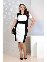 Строгое черно-белое платье больших размеров (рр 42-74)