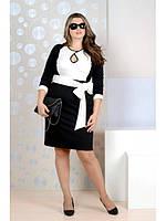 Черно-белое строгое платье больших размеров (рр 42-74)