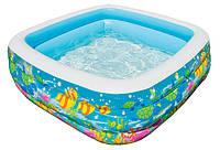 Яркий надувной бассейн Intex 57471 Квадрат, для детей от 3-х лет, 424л, 159х159 см, клапан для слива