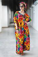 Легкое длинное платье в яркие цветы