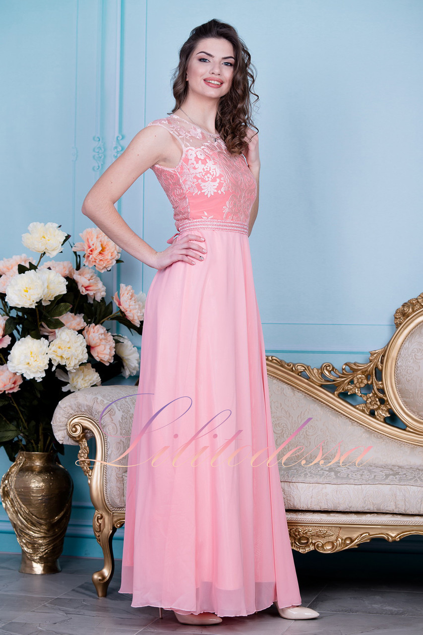 Вечернее платье персиковое Адели