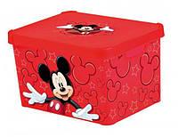 Ящик для хранения 23 л Mickey прозрачный красный