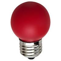 Светодиодная лампа Feron цветная Е27 1W G45 LB-37 шар красный свет