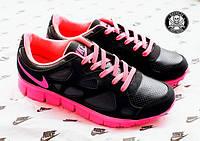 Жіночі бігові кросівки Nike free run Чорно-рожеві