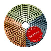 Китайские липучки трёхцветные алмазные Ф125 мм. для шлифовки и полировки камня.