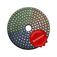Китайские липучки трёхцветные алмазные Ф100 мм. для шлифовки и полировки камня.
