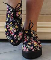 Ультрамодные женские туфли с цветочным принтом на платформе коттон