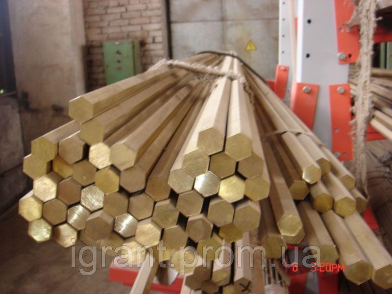 Латунный шестигранник ф10-210 ЛС63, ЛС59 ГОСТ цена купить