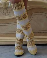 Летние нежные женские сапоги макраме со вставками экокожи