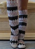 Летние черно-белые женские сапоги макраме со вставками экокожи