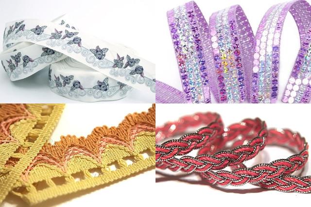 Тесьма декоративная люрекс, отделочная, атласная, плетеная, органза с пайетками, с рюшами