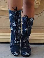 Джинсовые летние сапожки на шнуровке и молнии с вышивкой на низком ходу