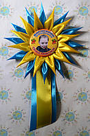 Значок с розеткой Астра с ленточкой и фотографией выпускника