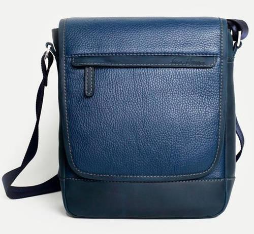 Мобильная мужская сумка на плечо из натуральной кожи ISSA HARA B5-05 (13-33) blue