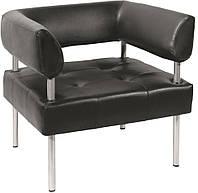 [ Кресло офисное D SOFA + подарок ] с подлокотниками искусственная кожа черный