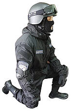Тактический черный костюм для спецназа, фото 2