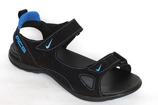 Подростковые сандалии  в стиле Nike C4 черные с синим