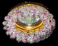 Светильник Точка Света  G 100 CL/PINK (золото, прозрачный+розовый, 50Вт)