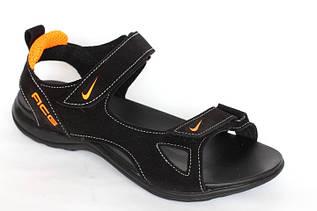 Подростковые сандалии в стиле Nike C4 черные с оранжевым