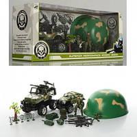 Военный набор: Джип, каска, солдат, оружие