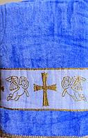 Махровое полотенце для крещения для мальчика Золотой Крестик