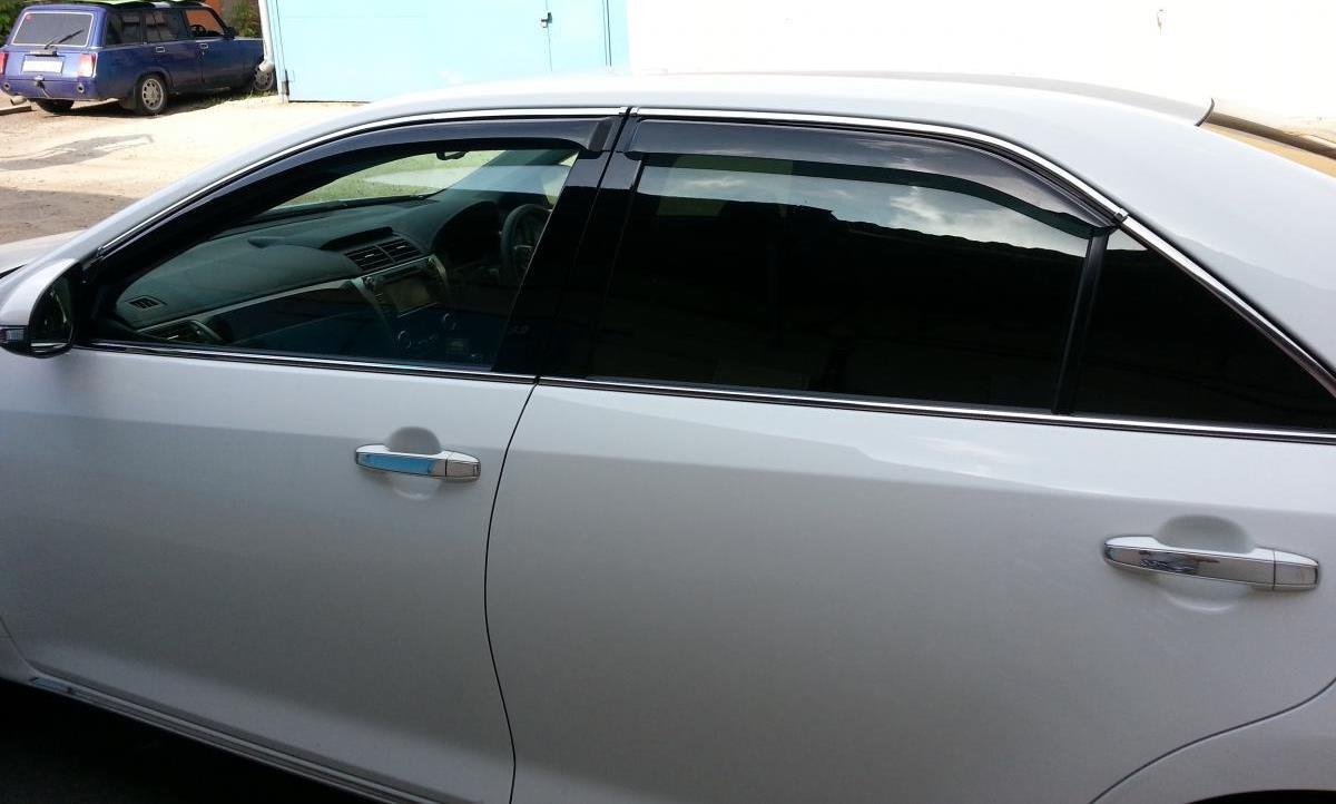 Дефлекторы окон (ветровики) Mazda 6 2012-> 4дв Sedan Хром молдинг