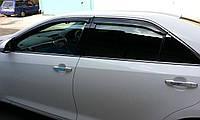 Дефлектори вікон (вітровики) Mazda 6 2012-> 4дв Sedan Хром молдинг, фото 1