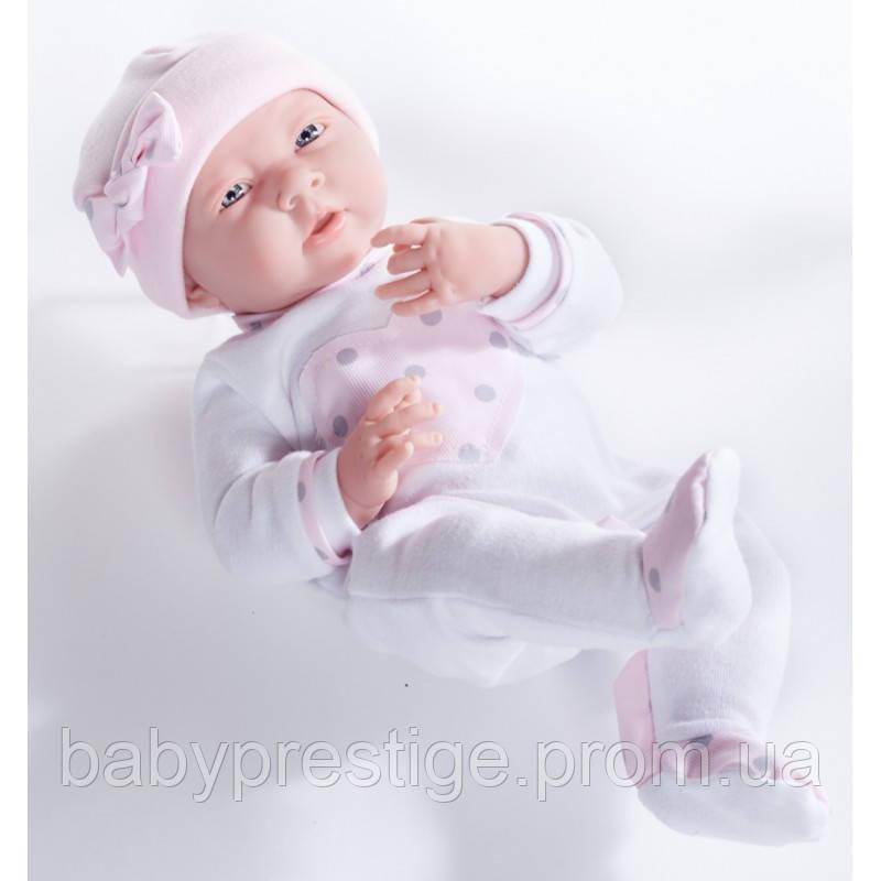 Berengue, новорожденная кукла девочка в комбинезоне с серцем,  38см