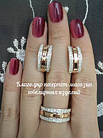 """Серебряный набор украшений """"054"""" серьги и кольцо с золотом"""