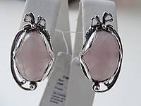Серебряные серьги с розовым кварцем, фото 1
