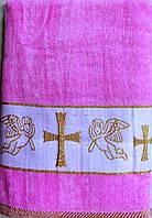 Махровое полотенце для крещения для девочки Золотой Крестик