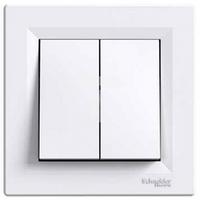 Выключатель 2-клавишный белый Schneider Electric Asfora EPH0300121
