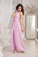 Неповторимое женское платье в пол под пояс с разрезом спереди и оголенной спинной креп-шифон