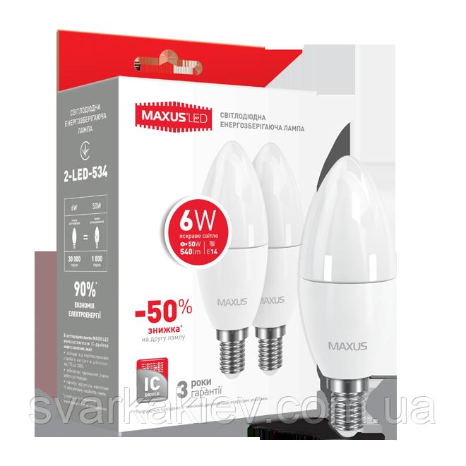 Набор LED ламп MAXUS C37 6W яркий свет 220V E14  (по 2 шт.) (2-LED-534)