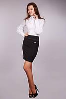 Строгая модель женской офисной юбки черного цвета