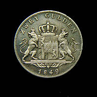 2 гульден Талер 1849 Максимилиан II копия монеты в серебре №203а копия, фото 1