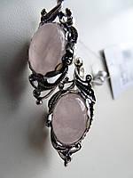 Серьги серебряные с розовым кварцем, фото 1
