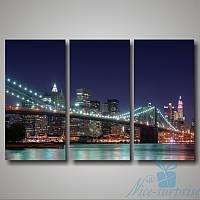 Модульная картина Триптих Бруклинский мост из 3 модулей, фото 1