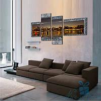 Модульная картина Вечерний мегаполис из 4 модулей