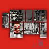 Модульная картина Полиптих Вечерний рейс из 7 частей