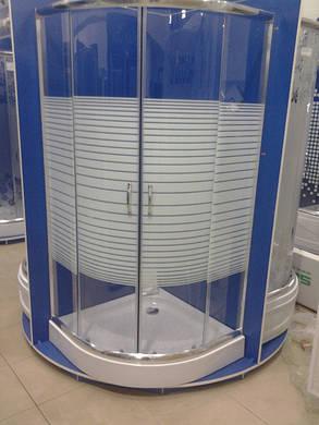 Душевая кабина полукруглая BADICO SAN 1001 Lines 100х100х195 с поддоном и сифоном, фото 2