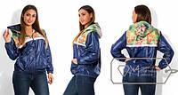 """Стильная женская куртка """"Цветы"""" для пышных форм"""